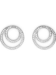 Cz By Kenneth Jay Lane Round Cubic Zirconia Pave Coiled Infinity Earrings Silver