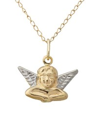 Lord And Taylor 14K Yellow Gold White Gold Cherub Pendant Necklace Two Tone
