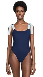 Karla Colletto Giselle Round Neck One Piece Swimsuit Navy Powder Blue
