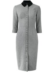 Olympia Le Tan Button Down Dress Cupro Wool Grey