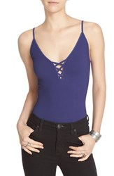 Free People Women's Lace Up Rib Knit Camisole Navy