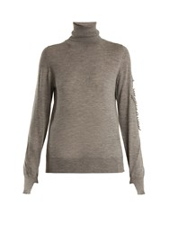 Barrie Thistle Roll Neck Cashmere Sweater Grey