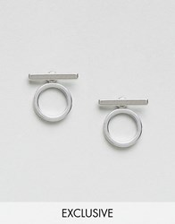 Monki Minimal Abstract Hoop Earrings Silver