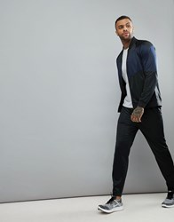 Your Turn Yourturn Active Tracksuit In Black With Navy Panels