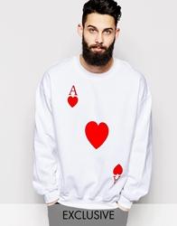 Reclaimed Vintage Sweatshirt With Playing Card Heart Print White