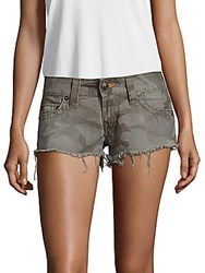 True Religion Camo Print Cotton Shorts Camo Green