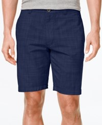 Club Room Men's Big And Tall Micro Check Flat Front Shorts Only At Macy's Navy Stone