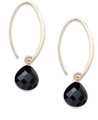 Macy's 14K Gold Earrings Faceted Onyx Sweep Drop Earrings 6 3 4 Ct. T.W.
