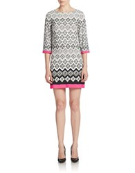 Eliza J Graphic Print Shift Dress Black Ivory