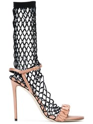 Marco De Vincenzo Crystal Fishnet Sandals Nude And Neutrals