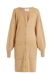Ryan Roche Patch Pocket Mohair And Silk Blend Cardigan Light Beige