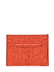 Tod's Stitched Embossed Leather Card Holder Orange
