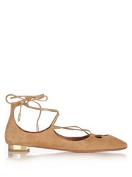 Aquazzura Dancer Wraparound Suede Flats Light Tan