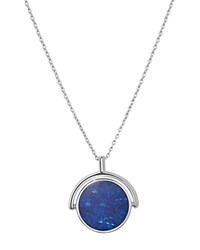 Shinola Sterling Silver And Lapis Rotating Signet Pendant Necklace 20 Blue Silver