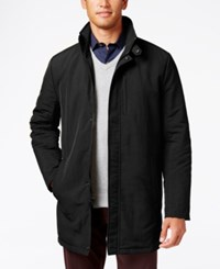 Kenneth Cole Zipper Front Overcoat Black