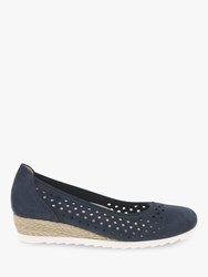 Gabor Evelyn Wide Fit Low Wedge Pumps Navy Nubuck