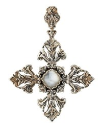 Konstantino Aura Maltese Cross Crystal Doublet Pendant Enhancer White