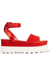 Miu Miu Satin Platform Sandals Red