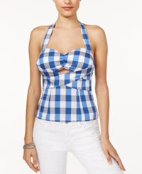 Guess Jane Gingham Halter Bustier Top Ocean Gingham Blue
