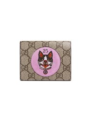 Gucci Gg Supreme Card Case With Bosco Patch Brown