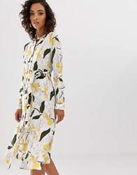Na Kd Floral Print Belted Midi Dress In White