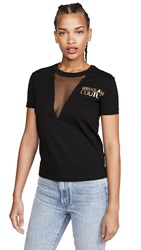 Versace Jeans Couture Mesh Inset Logo Tee Nero