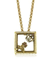 Alcozer And J Gemstone Gold Plated Brass Little Frog And Crown Necklace