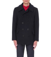 Tom Ford Double Breasted Wool Blend Peacoat Navy