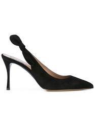 Tabitha Simmons Suede Sling Back Pumps Black