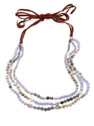 Chan Luu 5 10Mm Freshwater Pearl And Blue Lace Agate Multi Layer Necklace Blue Multi