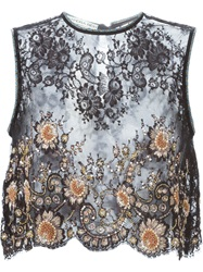 Alessandra Rich Embellished Lace Panel Top Black