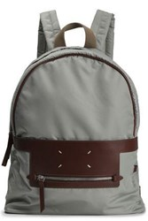 Maison Martin Margiela Leather Trimmed Shell Backpack Gray
