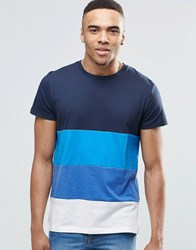 Jack And Jones Stripe T Shirt Blue