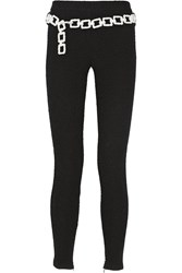 Boutique Moschino Boucle Effect Stretch Cotton Blend Jersey Leggings Black