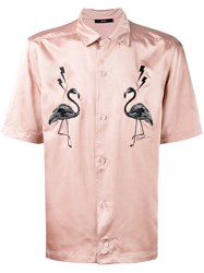 Diesel Flamingo Patches Shortsleeved Shirt Men Polyester Xl Pink Purple