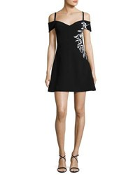 Cinq A Sept Larkin Cold Shoulder Embroidered Line Mini Dress Black White Black White