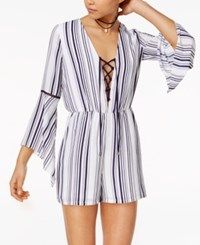 Xoxo Juniors' Striped Bell Sleeve Lace Up Romper Navy White