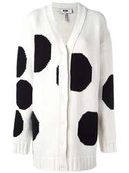 Msgm Polka Dot Cardigan White