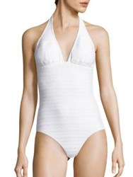 Shoshanna Cable Patterned Halter One Piece Swimsuit White