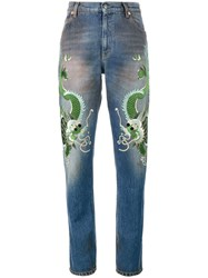 Gucci Embroidered Dragon Jeans Silk Cotton Calf Leather Viscose Blue