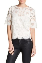 Trina Turk Elbow Length Lace Blouse White
