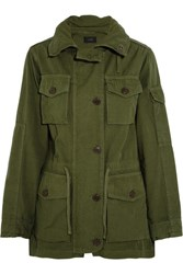 J.Crew Hooded Cotton Canvas Field Jacket Army Green