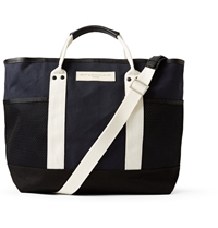 Want Les Essentiels Sangster Leather Trimmed Striped Organic Cotton Canvas Tote Blue