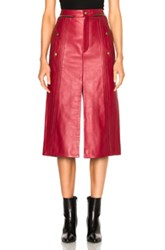 Chloe Leather And Nubuck Biker Skirt In Red