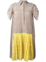 N 21 No21 Pleated Detailing Lace Dress Nude Neutrals