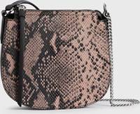 Allsaints Ely Small Round Leather Crossbody Bag Snake Pink