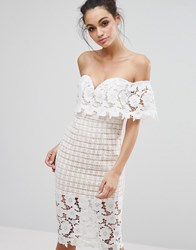 Love Triangle Off Shoulder Midi Dress In Premium Lace Cream White