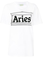 Aries Logo Printed T Shirt Women Cotton 1 White