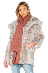 Michael Stars Cable Knit Mock Neck Scarf Rose