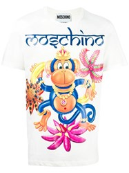 Moschino Monkey Print T Shirt White